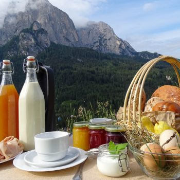 Breakfast table with homemade product from farm holidays