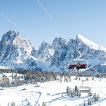 Ski lift on the Seiser Alm in the Dolomites